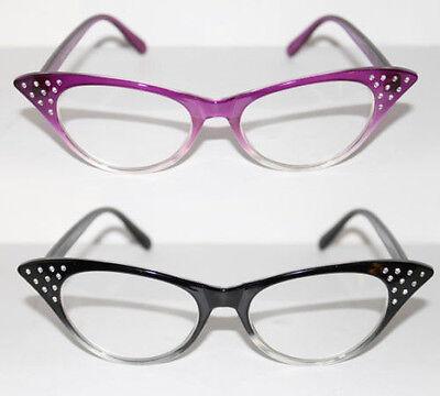 Cat Eye Brille nerd Brille  Pinup 50er Jahre z. Petticoat Kleid Farbverlauf 721