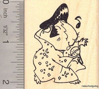 Guinea Pig Elvis Tribute Halloween Rubber Stamp H14114  ()