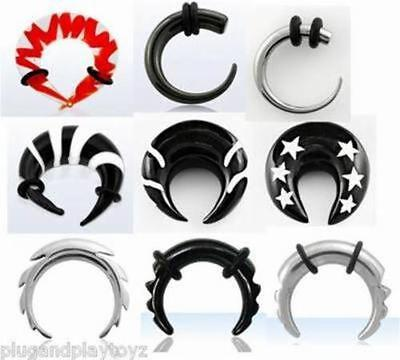 PAIR Steel / Organic Horn Expander U Taper Curved Stretcher Talon Claw Ear Gauge ()