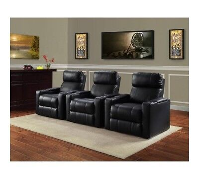 Mainstays Home Theater Recliner with Convenient In-Arm StorageDurable black PU leather upholstery with black stitchingConvenient In-arm storage ...  sc 1 st  eBay & Home Theater Leather Seat Lounge Sofa Recliner Living Room With ... islam-shia.org