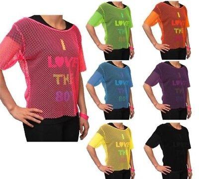 Damen Kostüm Neon Netzoberteil 80er Jahre Style Fischnetz T-Shirt - Fischnetz Shirt Kostüm