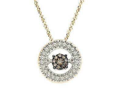 10K Yellow Gold Chocolate Brown Floating Diamond Necklace Circle Twinkle -