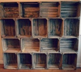 Wooden Apple Crates - Fruit Bushel Boxes - vintage style storage