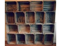 Wooden Apple Crates / Fruit Bushel Boxes - vintage style pigeon hole storage