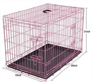 """30"""" Pink Double-Door Metal Pet Cage"""