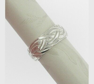 Sterling Silver Wide Celtic Livia Wedding Ring Size 6.5 Made in Ireland by FADO