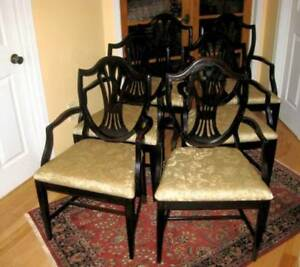 Several Sets Antique Refurbished Solid Mahogany Dining Chairs