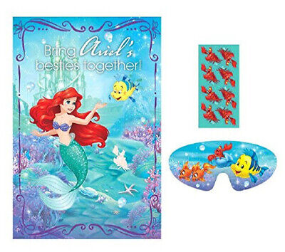 Ariel Mermaid Party Decorations (ARIEL DREAM BIG PRINCESS Birthday party GAME poster stickers blindfold)