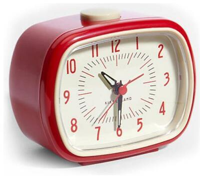 Retro Alarm Clock Red Kikkerland Battery Operated Glow In The Dark
