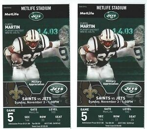 2013 NEW YORK JETS VS NEW ORLEANS SAINTS TICKET STUB 11/3/13 DREW BREES