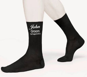 WEDDING PERSONALISED YOUR OWN NAME AND DATE GROOM SOCKS GIFT SIZE 6-12