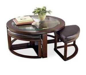 Brand New Black or Brown Round Glass Coffee Table with 4 Stools