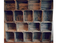 Vintage apple crates - wooden fruit box storage - can ship