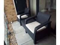 Outdoor Rattan Balcony Garden Furniture Set 2 Seater Table New Bargain