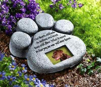 Paw Print Pet Cat Dog Picture Grave Memorial Stone Marker Plaque Headstone-NEW
