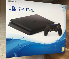 Sony PlayStation 4 500GB slim .New and sealed copy of purchase receipt can provided if needed.