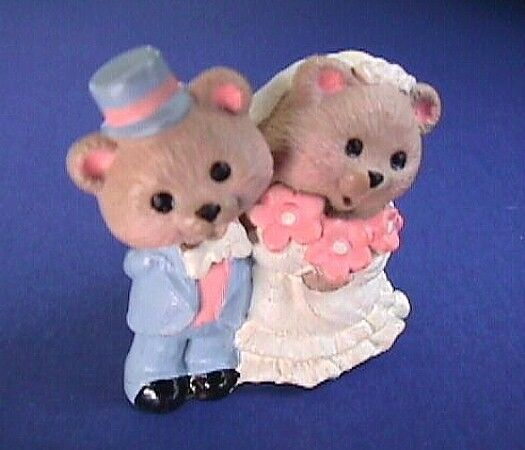Hallmark MERRY MINIATURES Vintage BRIDE GROOM BEAR Couple 1995 Mini Figurine NEW