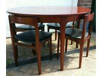 Round extendable table and 4 chairs