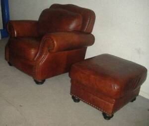 """Campio"" 100% Genuine Leather Amchair and ottoman"