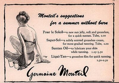 Vintage Ad Germaine Monteil  Suntan Oil Fake Super Sol Swimsuit Rbw Art