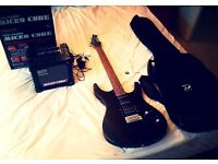 Great Electric Guitar and Amp combo! PLUS CARRY CASE for Guitar. WashburnRX10 and Roland Microcube