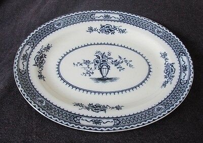 "Antique Wood & Sons ""Warwick"" Flow Blue Semi Porcelain Platter circa 1915"