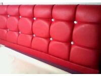 Brand New 3FT Single Red Leather Headboard with Fast Free Delivery