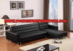 BLACK FRIDAY WEEK  SALE ON NOW  2PC  BONDED LEATHER SECTIONAL WITH BED ONLY $329