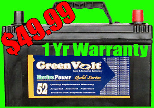 Auto batteries 1, 2 and 3 year warranties starting at $49.99