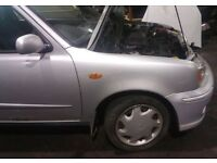 Nissan Micra O/S Wing In Silver Breaking For Parts (2002)