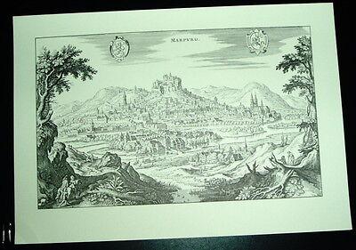 Marburg: alte Ansicht Merian Druck Stich 1650