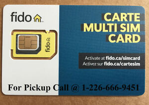 NEW Fido Multi sim card (Regular + Micro + Nano) 3 in 1 LTE /4G