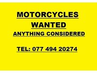 MOTORCYCLES WANTED-ANYTHING CONSIDERED-CASH PAID.