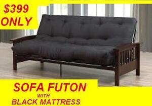 SOFA BED FUTON ESPRESSO WOOD AND BLACK METAL VERY STRONG $399 Oakville / Halton Region Toronto (GTA) image 1
