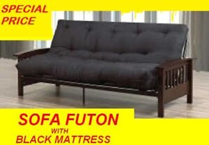 SOFA BED FUTON ESPRESSO WOOD AND BLACK METAL VERY STRONG $379