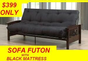 FUTON BED ESPRESSO WOOD AND METAL /KLIK KLAK FAUX LEATHER SOFA
