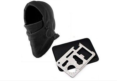 Outdoor Survival 11in1 Multi-tool Card Knife & Winter Warm Mask Beanie Hat Black