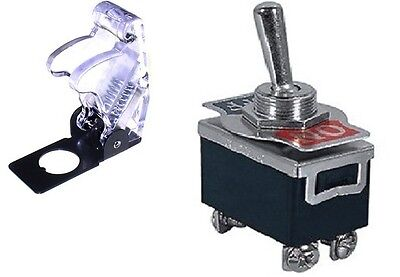 1 Pc Dpst Safety Toggle Switch 20amp125vac With Clear Cover 66-180466-5016