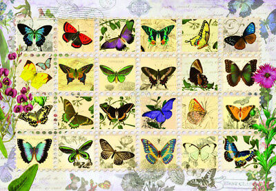 Puzzle Schmetterlings-Briefmarken, 500 Teile, Collage, Butterfly, Perre
