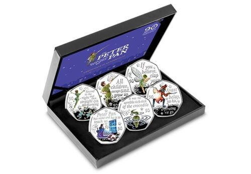 2019 Peter Pan Silver Proof 50p Coloured Coin Set (Ltd Edition)