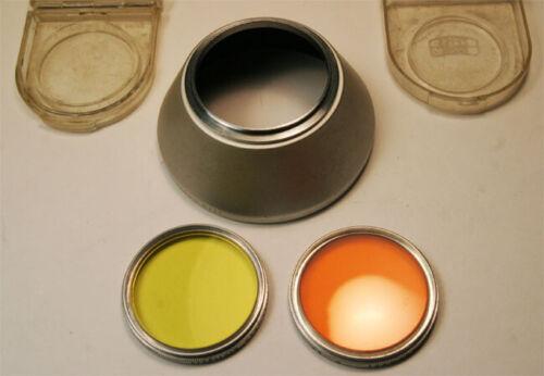 Zeiss Chrome S40.5mm  Screw in 1119  Hood & G (yellow) O (orange) Filter