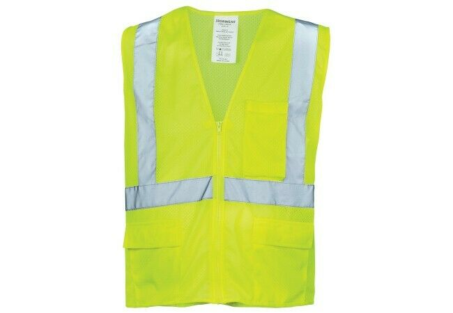 Ironwear 1284 MESH Economy Class 2 Safety Vest With Zipper Lime Green & Orange Business & Industrial