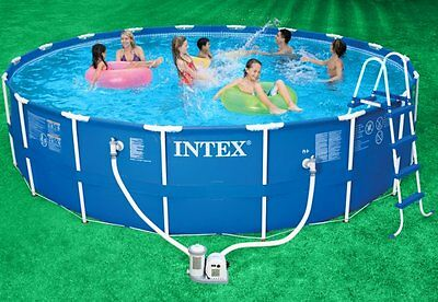 "Intex 18' x 48"" Metal Frame Swimming Pool Set & 1500 GPH Filter Pump 