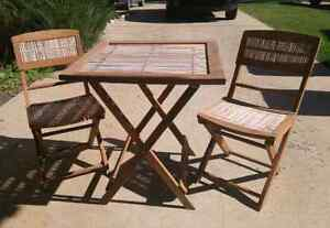 Wood/wicker Table & Chair Bistro Set