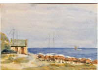 "Original watercolour ""Bay of Nigg"". Listed Scottish artist"