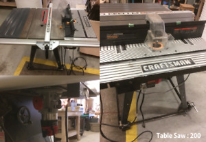 Woodworking shop tools - Table saw, Arm saw, Drill press, etc