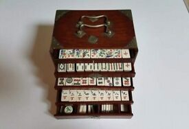 ANTIQUE ROSEWOOD CASED COW BONE & BAMBOO MAHJONG SET GOOD CONDITION SOLD FOR HOSPITAL NURSES CHARITY