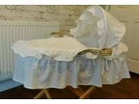 Moses Basket by Clair de Lune, with blanket, mattress and stand