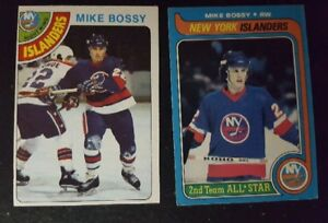 Mike bossy rookie hockey card and 2nd year card lot