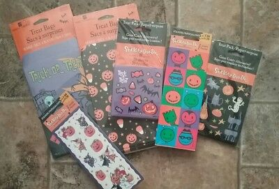 New Kids Halloween Treat Bags Mini Sheets Stickers Pack Scrapbook Party - Halloween Treats Goody Bags